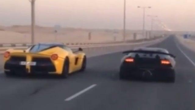 LaFerrari Races Lamborghini Sesto Elemento In, Where Else, Qatar