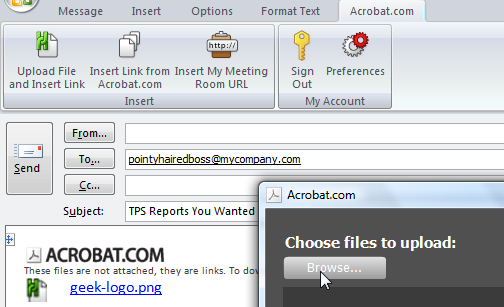 Acrobat.com Sends Large Files Through Outlook for Free