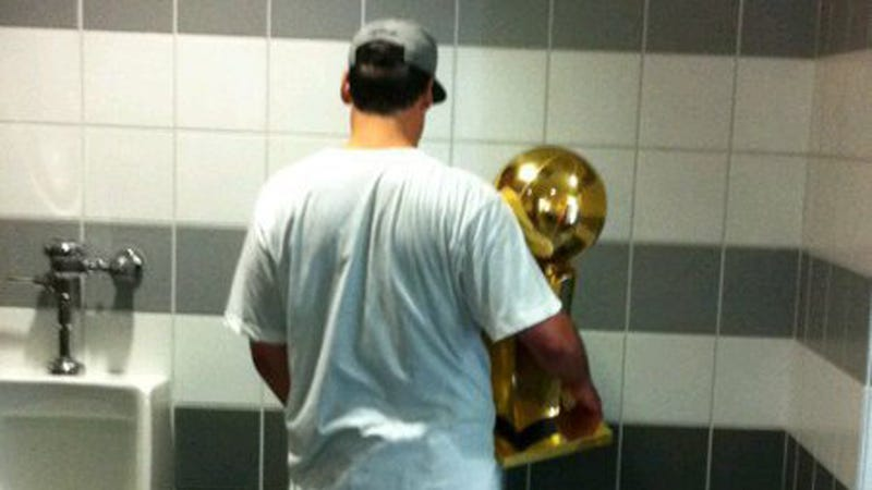 Yes, Mark Cuban Takes The Trophy To The Urinal With Him