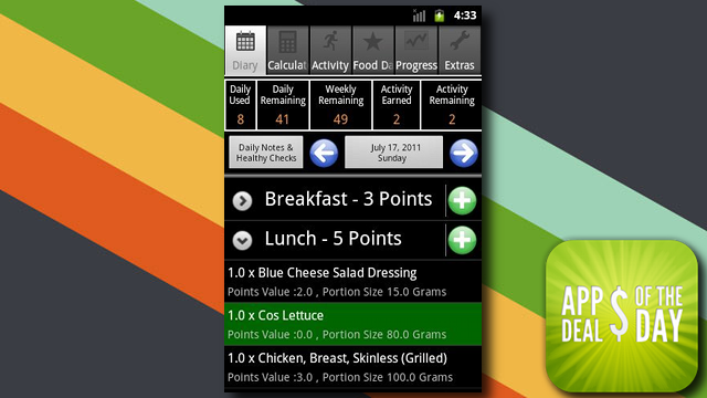 Daily App Deals: Get Ultimate Weight Watcher Diary for Android for 60% Off in Today's App Deals