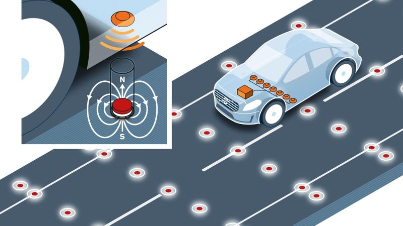Volvo Doesn't Trust GPS or Cameras, Puts Magnets In The Road Instead
