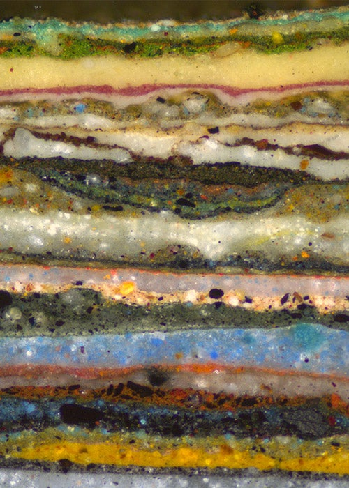 Microscopic cross-section photo of layers of paint is more spectacular than we ever would have imagined