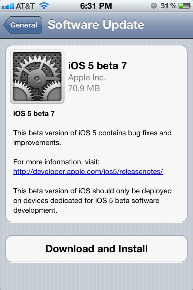 iOS 5 Beta 7 Is Out