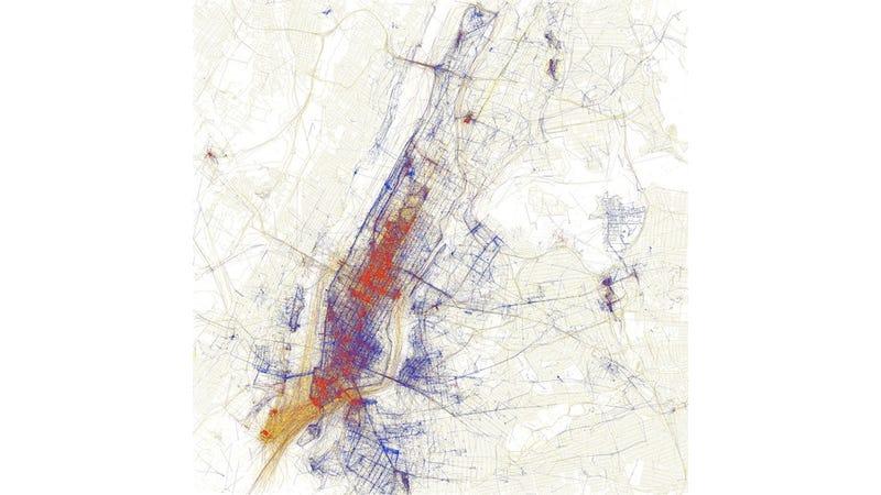 GPS Data Illuminates Tourists from Space