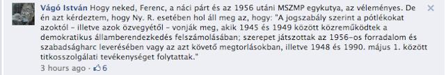 Vágó István a Nagy Imre kivégzésére szavazó Nyers Rezsőt védi