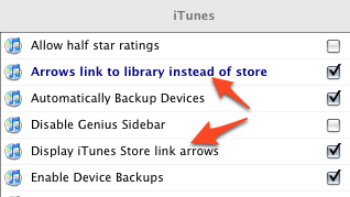 Improve or Disable iTunes Link Arrows, Disable Genius Sidebar