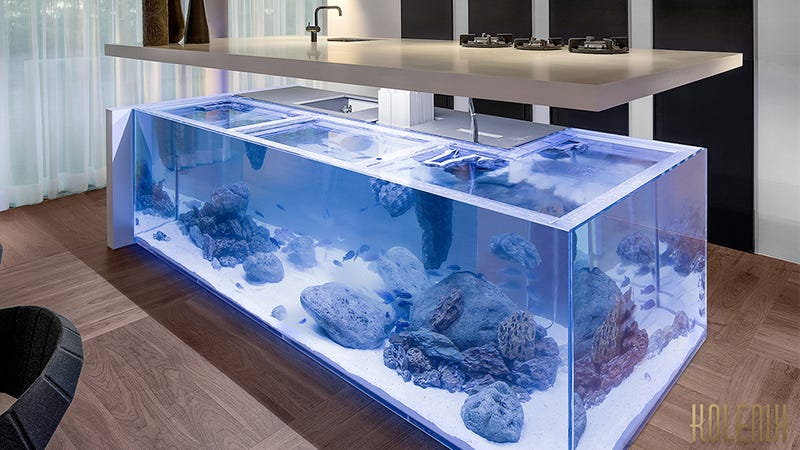 There's a Miniature Ocean Trapped Inside This Kitchen Island
