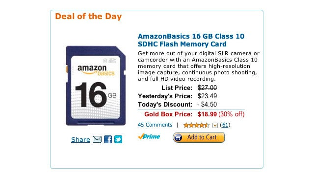 Get a 16GB Class 10 SDHC Memory Card for $19