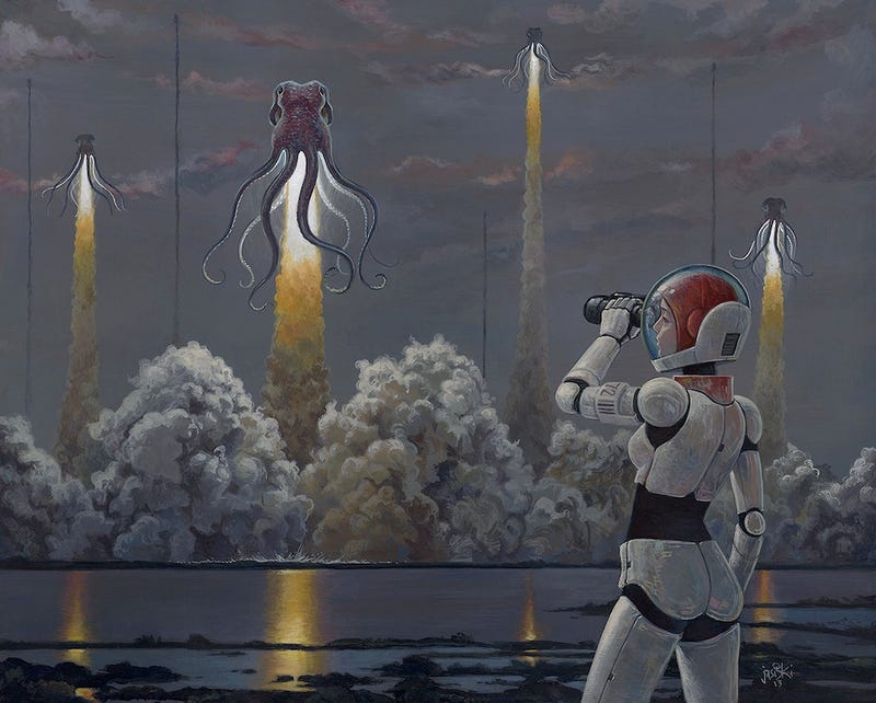 Concept Art Writing Prompt: Rocketing Octopodes take flight