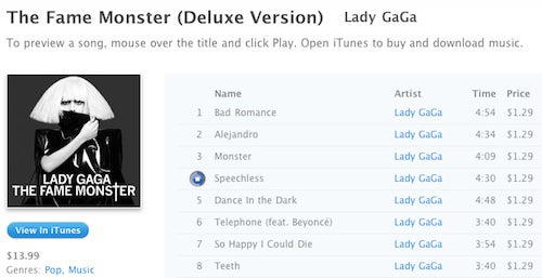 iTunes Browser-Based Link Previews Include 30-Second Song Previews