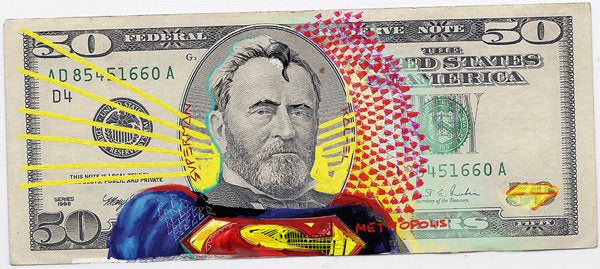 Dollar bill presidents get made over as the Justice League