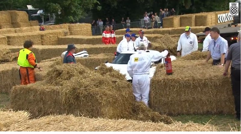 Alfa 4C crashes into the hay at Goodwood