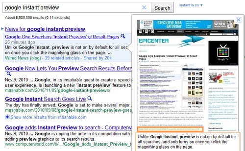 Google Rolling Out Instant Previews on Search Results
