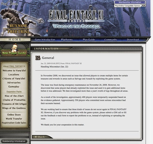 Hundreds Of Players Banned In Final Fantasy XI