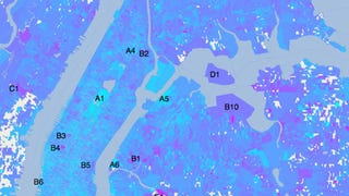 """In April 2012, researchers at the New England Complex Systems Institute mined the """"emotional content"""" of 600,000 tweets--collected over a two-week period--to figure out the happiest places in New York. According to the map above, some of the worst places in the city include JFK, Penn Station, and basically any cemetery, while the best (or happiest) are Central Park, the Botanical Ga"""