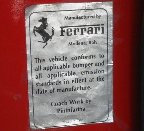 Ferrari 308 GTSi ID Plates