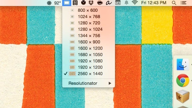 Resolutionator for Mac Swaps Between Display Resolutions with a Shortcut