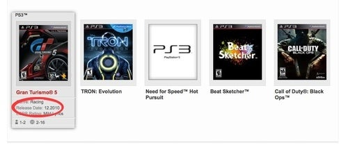 Gran Turismo 5 Gets a December Play-By Date On Sony's Site
