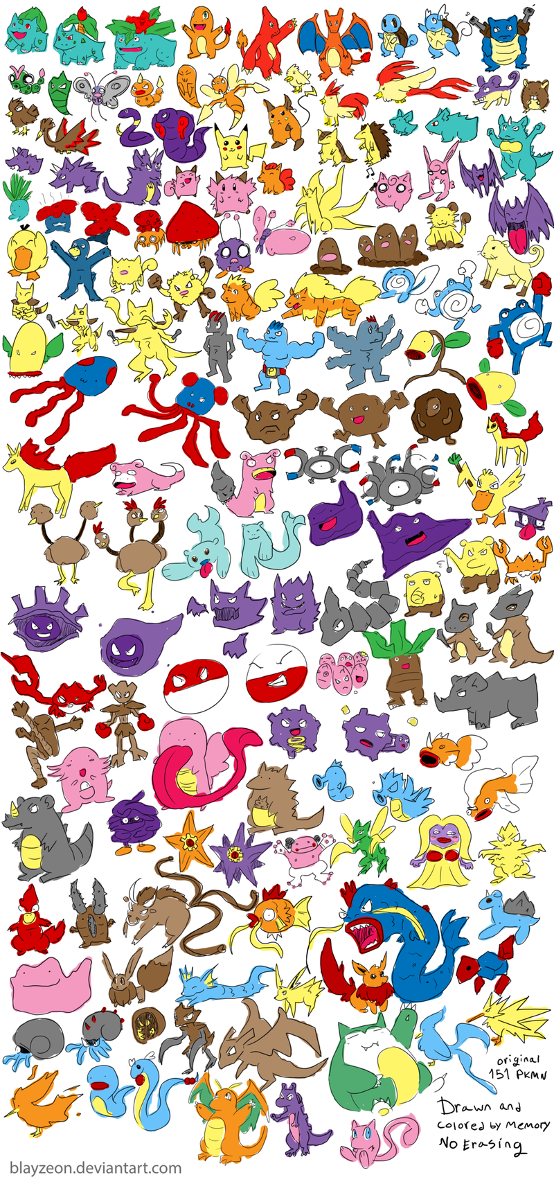 The Original 151 Pokemon, Drawn From Memory, Without Erasing