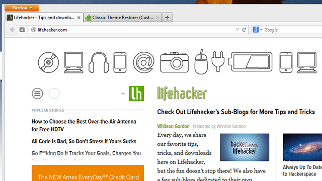 Classic Theme Restorer Brings Back Firefox's Old Design