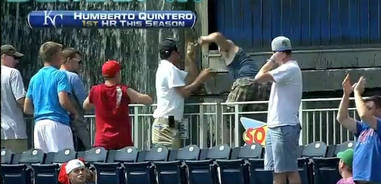 Fans Are Not Permitted In The Fountains At Kauffman Stadium. This Fan Did Not Care.