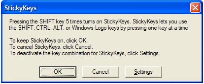 Windows Annoyance: Disable FilterKeys, StickyKeys, and ToggleKeys