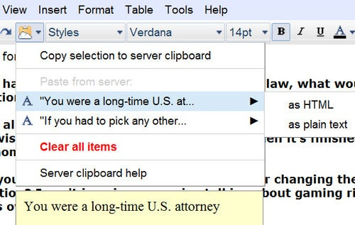 Server Clipboard in Google Docs Hints at Universal Google Copy/Paste