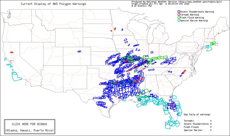 Here's a Map of Every Severe Weather Warning Issued in the Last Week