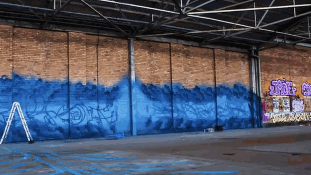 Watch what happens when graffiti artists are given a giant blank room