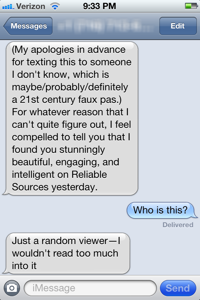 Uncomfortable Unsolicited Texts from a Stranger: 'I Find You Stunning'