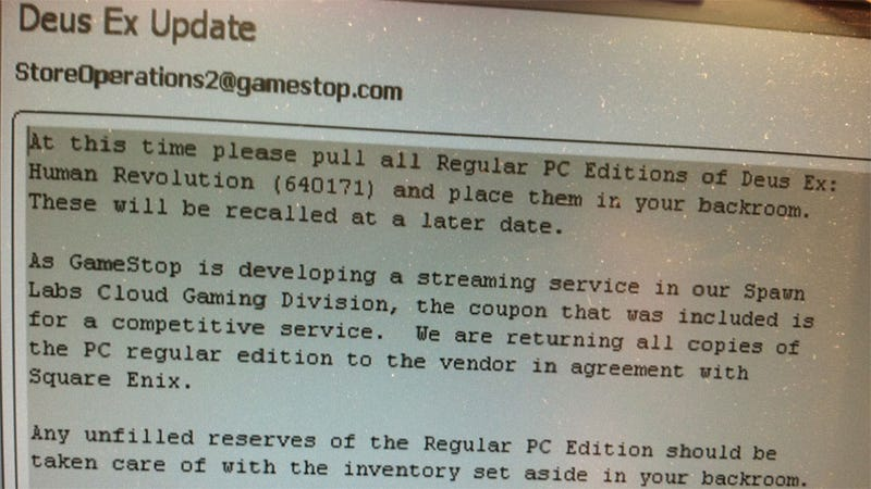 GameStop Pulls PC Deus Ex: Human Revolution From Shelves Following OnLive Debacle