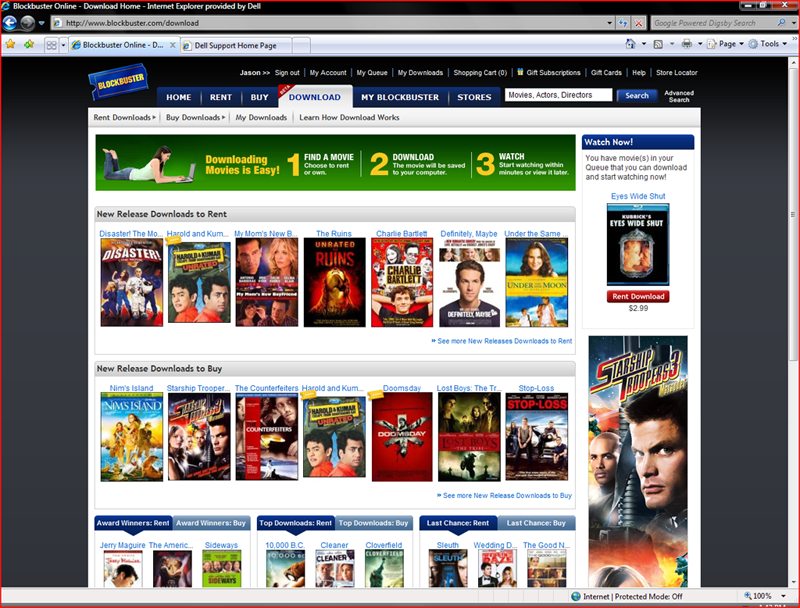 Blockbuster Online Download Store Screenshot Tour