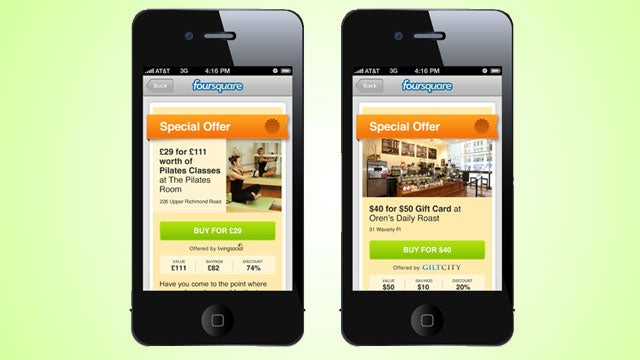 Foursquare Launching Daily Deals from LivingSocial, Gilt City, and More