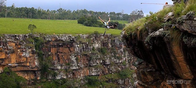 The world's biggest rope swing jump is 600 feet of pure adrenaline rush