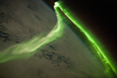 A lime-green light show 190 miles above the Indian Ocean