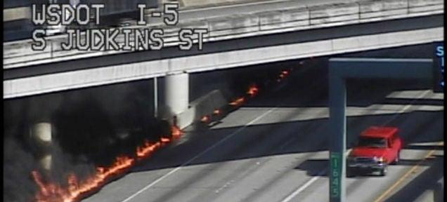 Weird Diesel Fire Turns Seattle Highway Into Blazing Hell River