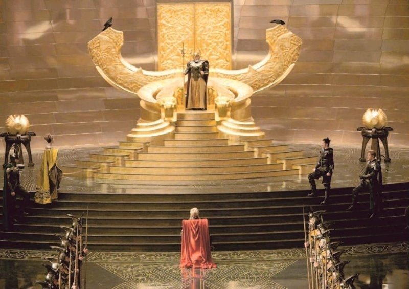 Enter the golden hall of Asgard and kneel before Odin's throne