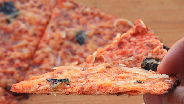 "This variation on ""bar-style"" pizza from Serious Eats uses a tortil..."
