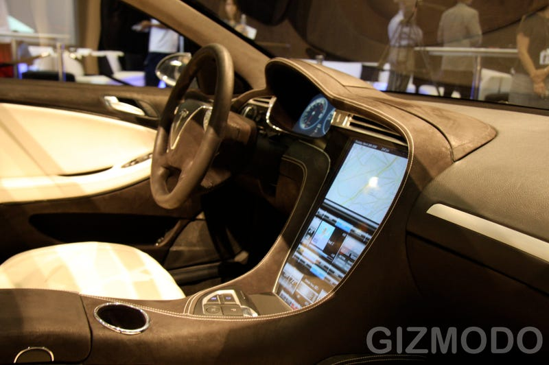 First Look At The Tesla Model S Electric Car's Giant Touchscreen Dashboard