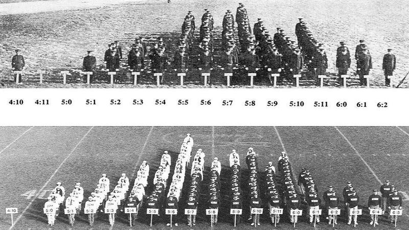 This human bar graph shows how we've grown taller over 80 years