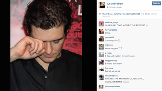 Justin Bieber on Orlando Bloom Fight: [Photo of Orlando Bloom Weeping]