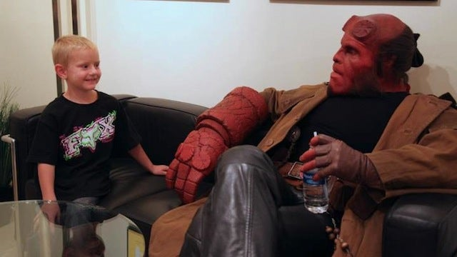 Good guy Ron Perlman reprises his Hellboy role for a very special audience of one