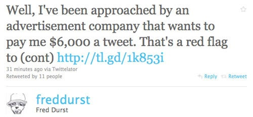 Fred Durst Selflessly Refuses To Tweet For Money