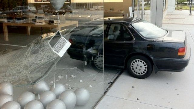 Ninja uses car-crash-jutsu in a botched attempt to rob an Apple store