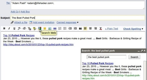 Gmail Google Search Button Makes Link Pasting Easier