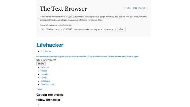 Text Browser Is a Google Script Powered Way to Browse the Web with Only Text