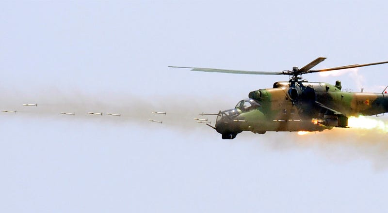This Is What a Helicopter Firing High-Speed Rockets Looks Like