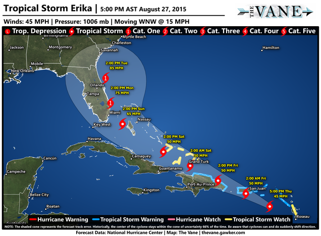 Deadly Flash Flooding Possible as Tropical Storm Erika Aims for Puerto Rico