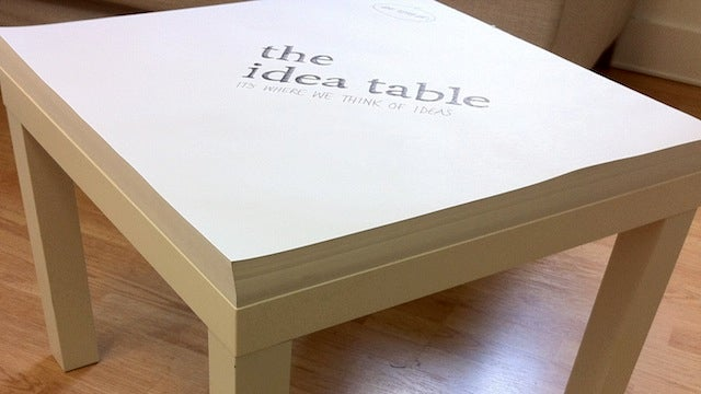 The Idea Table Encourages You to Brainstorm, Sketch, and Make Notes In Front of The TV