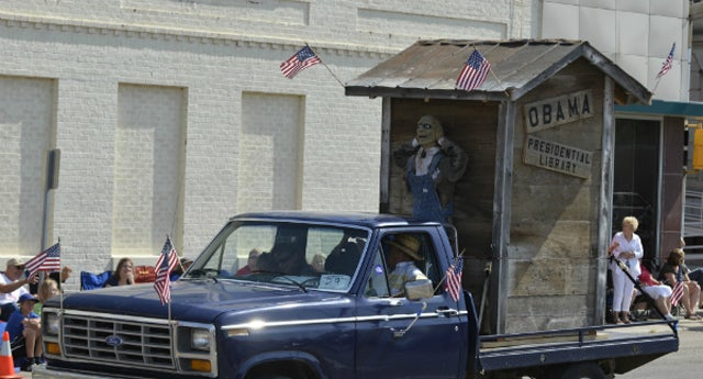 "Parade Float Features Outhouse as ""Obama's Presidential Library"""